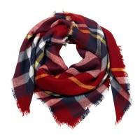 Blanket Scarf - Navy and Garnet