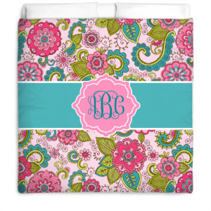 Custom monogram bedding